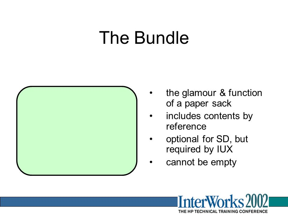 The Bundle the glamour & function of a paper sack includes contents by reference optional for SD, but required by IUX cannot be empty