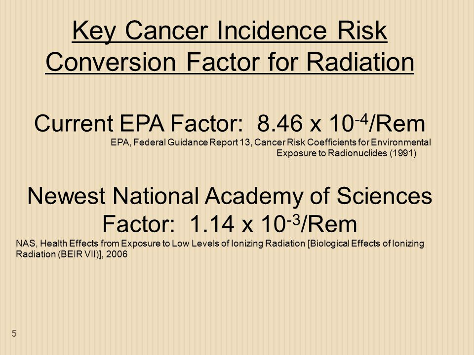 Key Cancer Incidence Risk Conversion Factor for Radiation Current EPA Factor: 8.46 x 10 -4 /Rem EPA, Federal Guidance Report 13, Cancer Risk Coefficients for Environmental Exposure to Radionuclides (1991) Newest National Academy of Sciences Factor: 1.14 x 10 -3 /Rem NAS, Health Effects from Exposure to Low Levels of Ionizing Radiation [Biological Effects of Ionizing Radiation (BEIR VII)], 2006 5