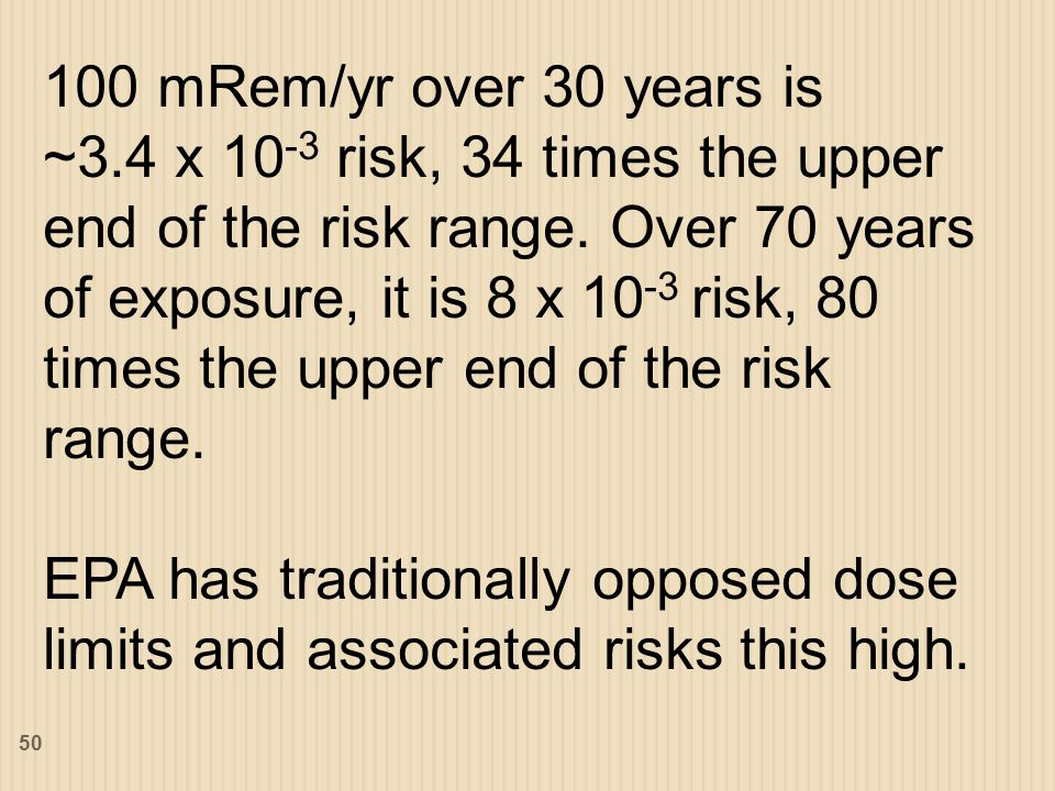 100 mRem/yr over 30 years is ~3.4 x 10 -3 risk, 34 times the upper end of the risk range.