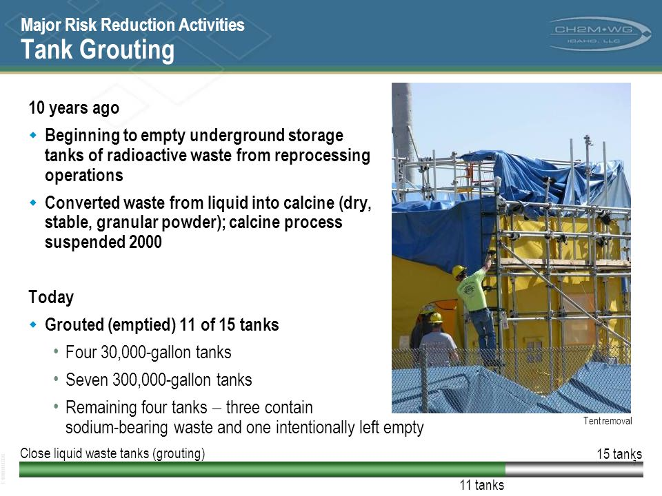 E102003020BDS 8 Major Risk Reduction Activities Sodium-bearing Waste 10 years ago  Making calcine (solidified high level waste); calcine production suspended in 2000 due to unacceptable emissions Today  Integrated Waste Treatment Unit (IWTU) under construction using steam reformer technology for sodium-bearing waste processing and designed for retrieval of calcined waste IWTU construction