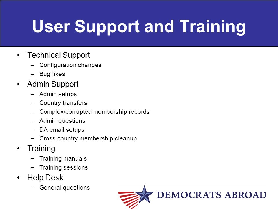 User Support and Training Technical Support –Configuration changes –Bug fixes Admin Support –Admin setups –Country transfers –Complex/corrupted member