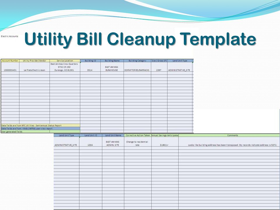 Utility Bill Cleanup Template