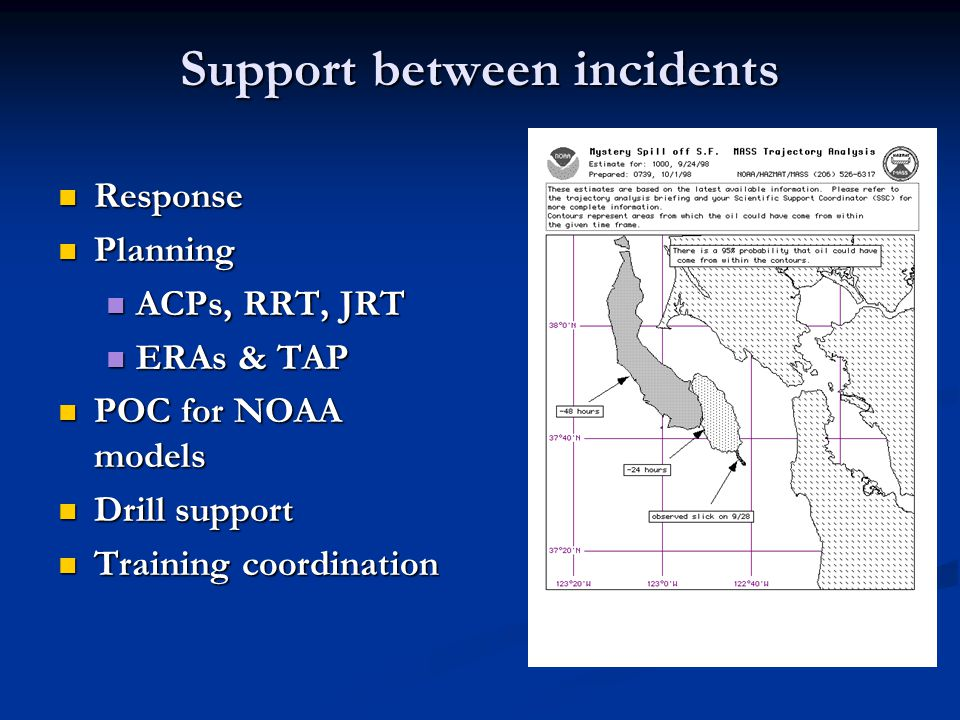 Support between incidents Response Response Planning Planning ACPs, RRT, JRT ACPs, RRT, JRT ERAs & TAP ERAs & TAP POC for NOAA models POC for NOAA models Drill support Drill support Training coordination Training coordination