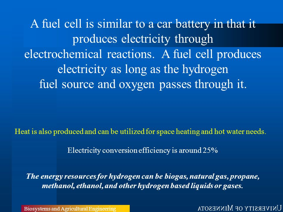 Biosystems and Agricultural Engineering A fuel cell is similar to a car battery in that it produces electricity through electrochemical reactions.