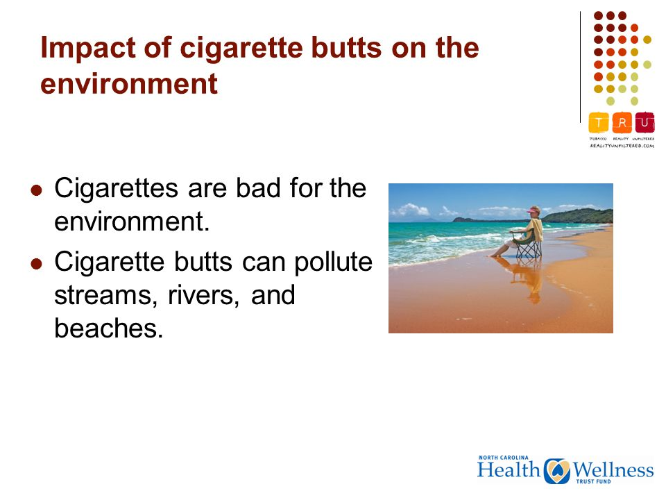 Impact of cigarette butts on the environment Cigarettes are bad for the environment.