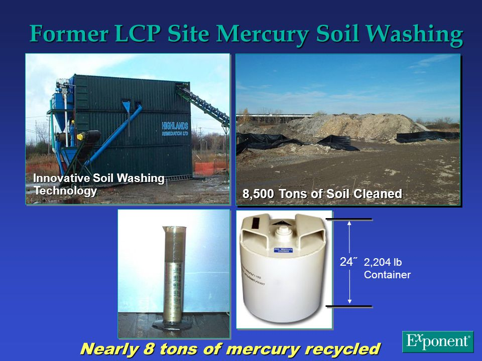 Former LCP Site Mercury Soil Washing 24˝ 2,204 lb Container Nearly 8 tons of mercury recycled Innovative Soil Washing Technology 8,500 Tons of Soil Cleaned