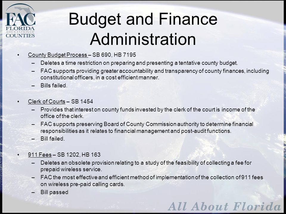 Appropriations Conservation Use Property Tax Assessment Classification –FAC supports full funding for the legislative commitment to offset the impact of the constitutional amendment on fiscally constrained counties.