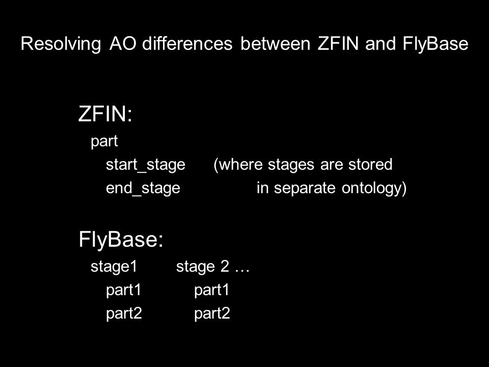 Resolving AO differences between ZFIN and FlyBase ZFIN: part start_stage (where stages are stored end_stage in separate ontology) FlyBase: stage1stage 2 … part1 part2