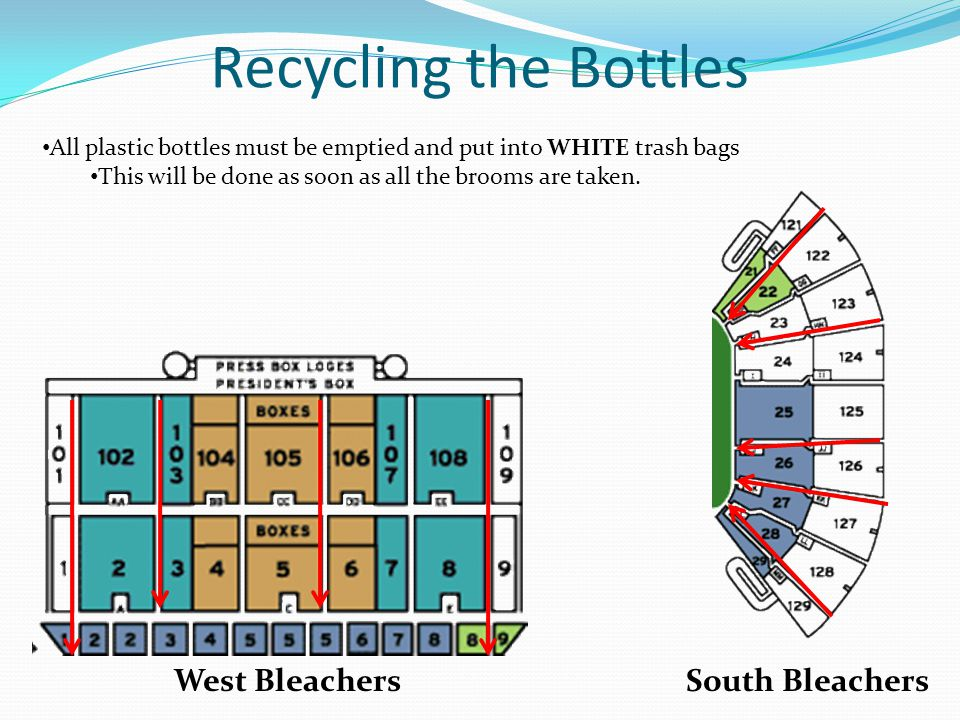 Recycling the Bottles West BleachersSouth Bleachers All plastic bottles must be emptied and put into WHITE trash bags This will be done as soon as all the brooms are taken.