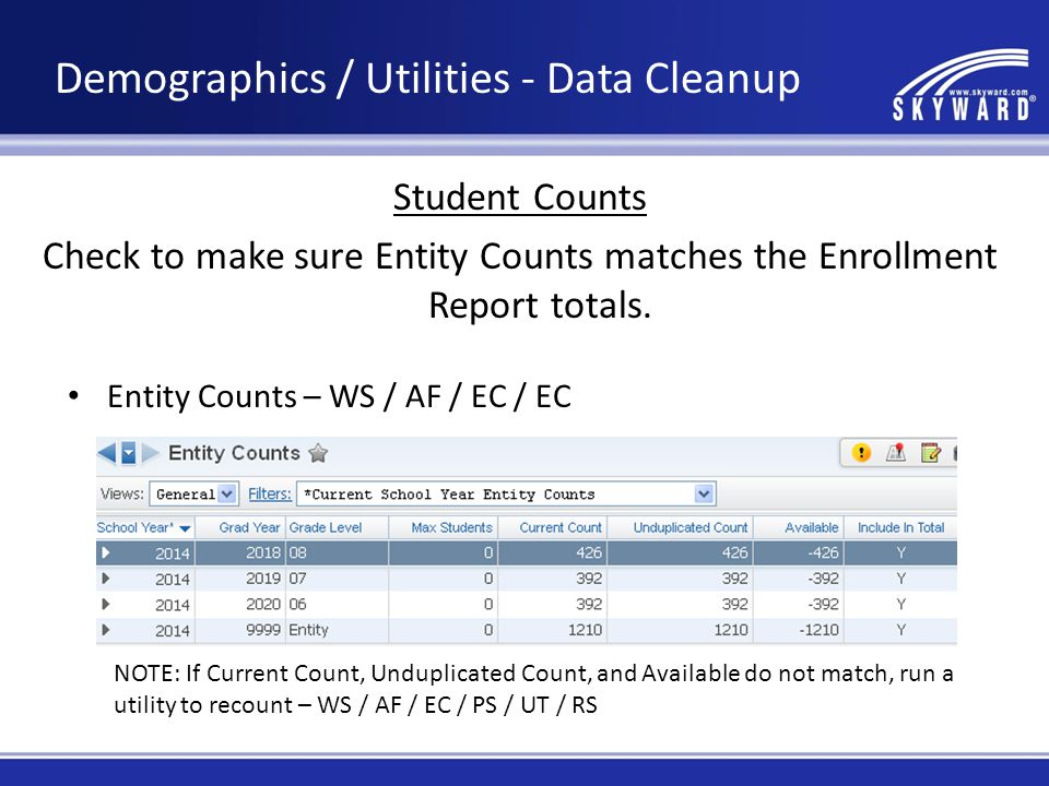 Enrollment Report – WS / OF / AT / RE / AR / ER If Entity Counts and Enrollment Report do not match, try running data mining reports looking for the following… Data Mining Reports - WS / ST / DM Active Student but Default Entity = No Active Student but not Enrolled Enrolled Student but not Active Demographics / Utilities - Data Cleanup