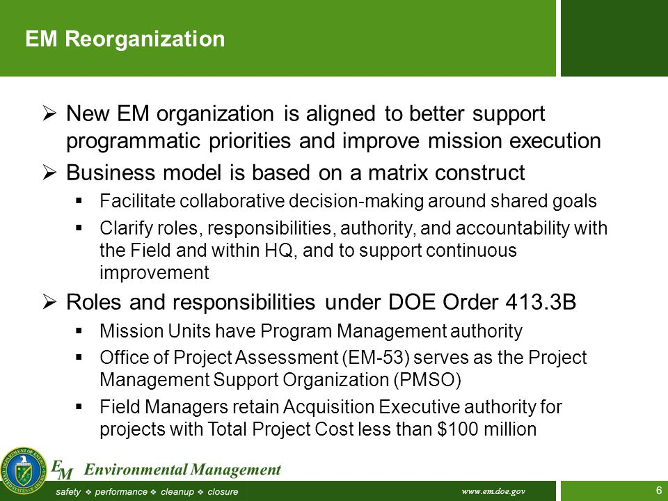 www.em.doe.gov 6 EM Reorganization  New EM organization is aligned to better support programmatic priorities and improve mission execution  Business
