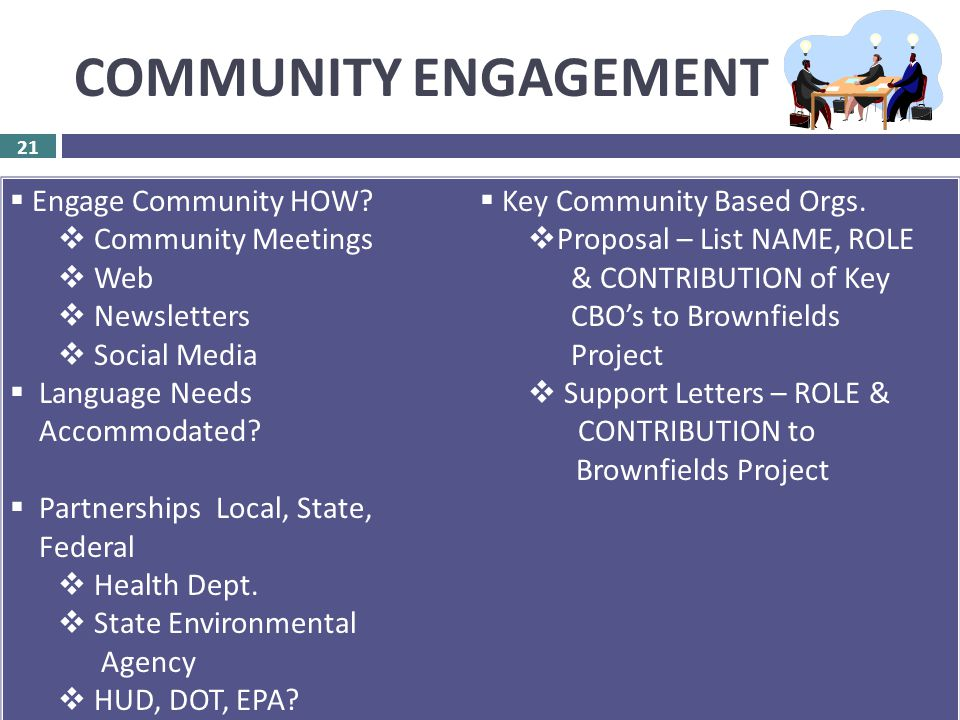 COMMUNITY ENGAGEMENT 21  ASSESSMENT – 30 Points  RLF – 15 Points  CLEANUP – 15 Points 21  Engage Community HOW.