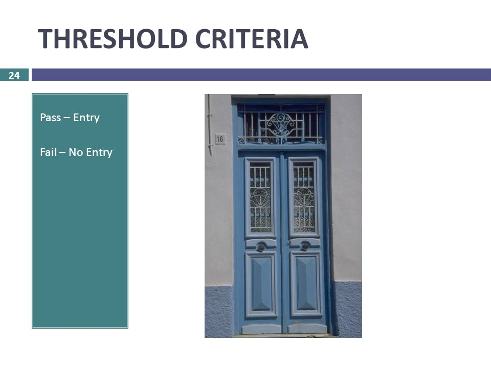 THRESHOLD CRITERIA 24 Pass – Entry Fail – No Entry