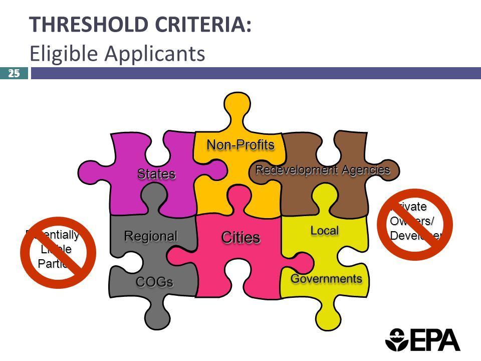 25 THRESHOLD CRITERIA: Eligible Applicants 25 PotentiallyLiableParties PrivateOwners/Developers CitiesCities StatesStates Non-ProfitsNon-Profits Redevelopment Agencies
