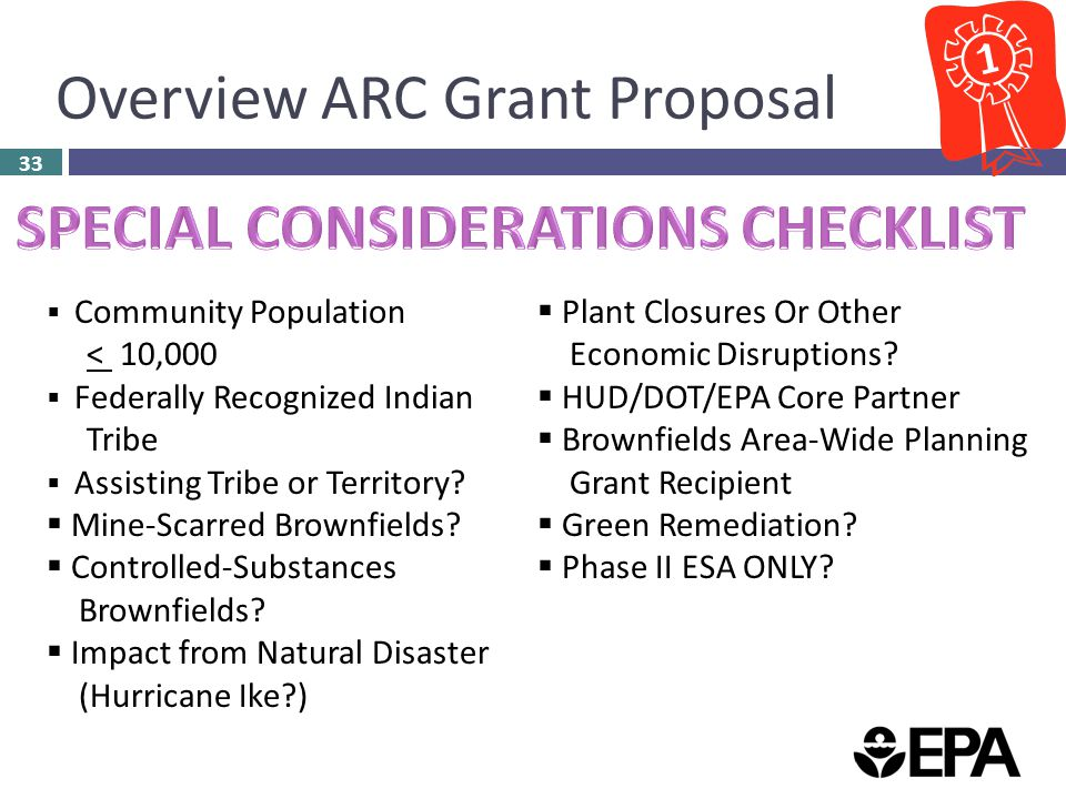 Overview ARC Grant Proposal 33  Community Population < 10,000  Federally Recognized Indian Tribe  Assisting Tribe or Territory.