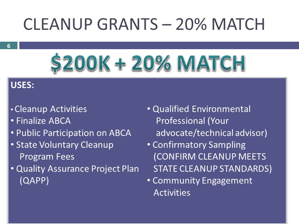 CLEANUP GRANTS – 20% MATCH 6 Non-Profits – Eligible Applicant Must Own Property Must Not Be Operator Must Qualify as HAZARDOUS  Bona Fide Prospective Purchaser OR PETROLEUM  Eligibility Determination – State Phase I ESA Completed Phase II ESA Completed Analysis of Brownfields Cleanup Alternatives (ABCA) - Drafted Public Participation on Grant Proposal  Community Notice (Document!)  Community Meeting (Document!)  Community Comments on Grant Proposal (Document!) USES: Cleanup Activities Finalize ABCA Public Participation on ABCA State Voluntary Cleanup Program Fees Quality Assurance Project Plan (QAPP) Qualified Environmental Professional (Your advocate/technical advisor) Confirmatory Sampling (CONFIRM CLEANUP MEETS STATE CLEANUP STANDARDS) Community Engagement Activities USES: Cleanup Activities Finalize ABCA Public Participation on ABCA State Voluntary Cleanup Program Fees Quality Assurance Project Plan (QAPP) Qualified Environmental Professional (Your advocate/technical advisor) Confirmatory Sampling (CONFIRM CLEANUP MEETS STATE CLEANUP STANDARDS) Community Engagement Activities