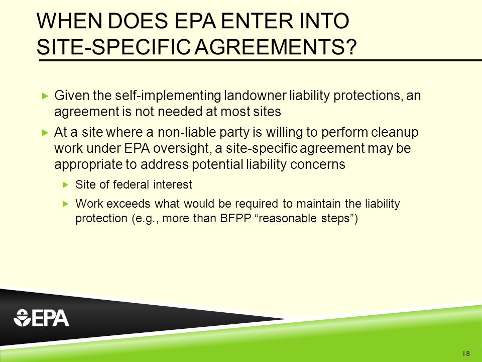 WHEN DOES EPA ENTER INTO SITE-SPECIFIC AGREEMENTS.