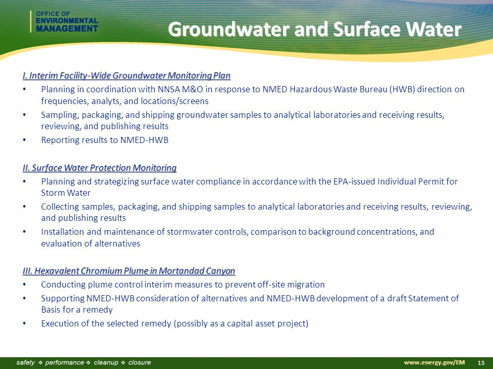 www.energy.gov/EM 13 Groundwater and Surface Water I.