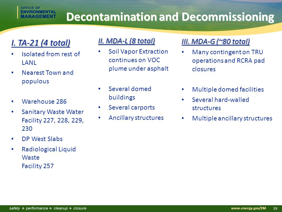 www.energy.gov/EM 19 Decontamination and Decommissioning I.