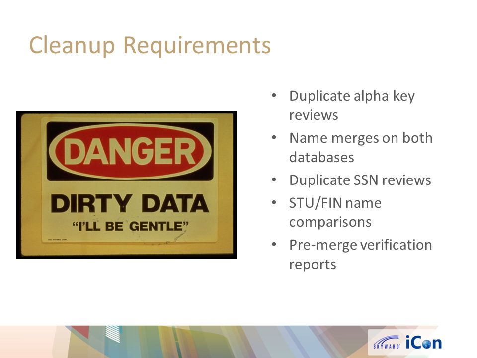 Cleanup Requirements Duplicate alpha key reviews Name merges on both databases Duplicate SSN reviews STU/FIN name comparisons Pre-merge verification reports