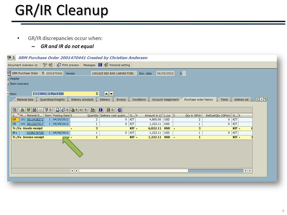 GR/IR Cleanup 6 GR/IR discrepancies occur when: – GR and IR do not equal