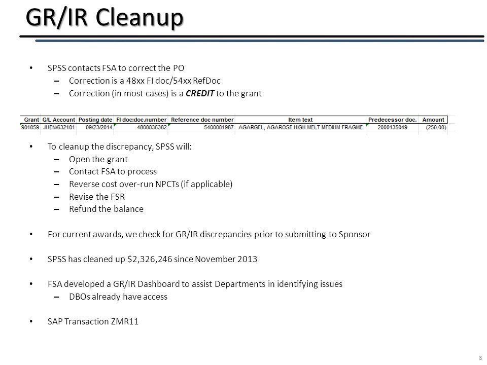 GR/IR Cleanup 8 SPSS contacts FSA to correct the PO – Correction is a 48xx FI doc/54xx RefDoc – Correction (in most cases) is a CREDIT to the grant To cleanup the discrepancy, SPSS will: – Open the grant – Contact FSA to process – Reverse cost over-run NPCTs (if applicable) – Revise the FSR – Refund the balance For current awards, we check for GR/IR discrepancies prior to submitting to Sponsor SPSS has cleaned up $2,326,246 since November 2013 FSA developed a GR/IR Dashboard to assist Departments in identifying issues – DBOs already have access SAP Transaction ZMR11