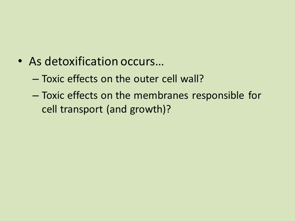 As detoxification occurs… – Toxic effects on the outer cell wall? – Toxic effects on the membranes responsible for cell transport (and growth)?