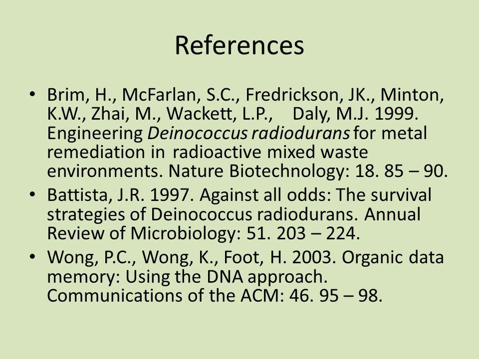 References Brim, H., McFarlan, S.C., Fredrickson, JK., Minton, K.W., Zhai, M., Wackett, L.P.,Daly, M.J.