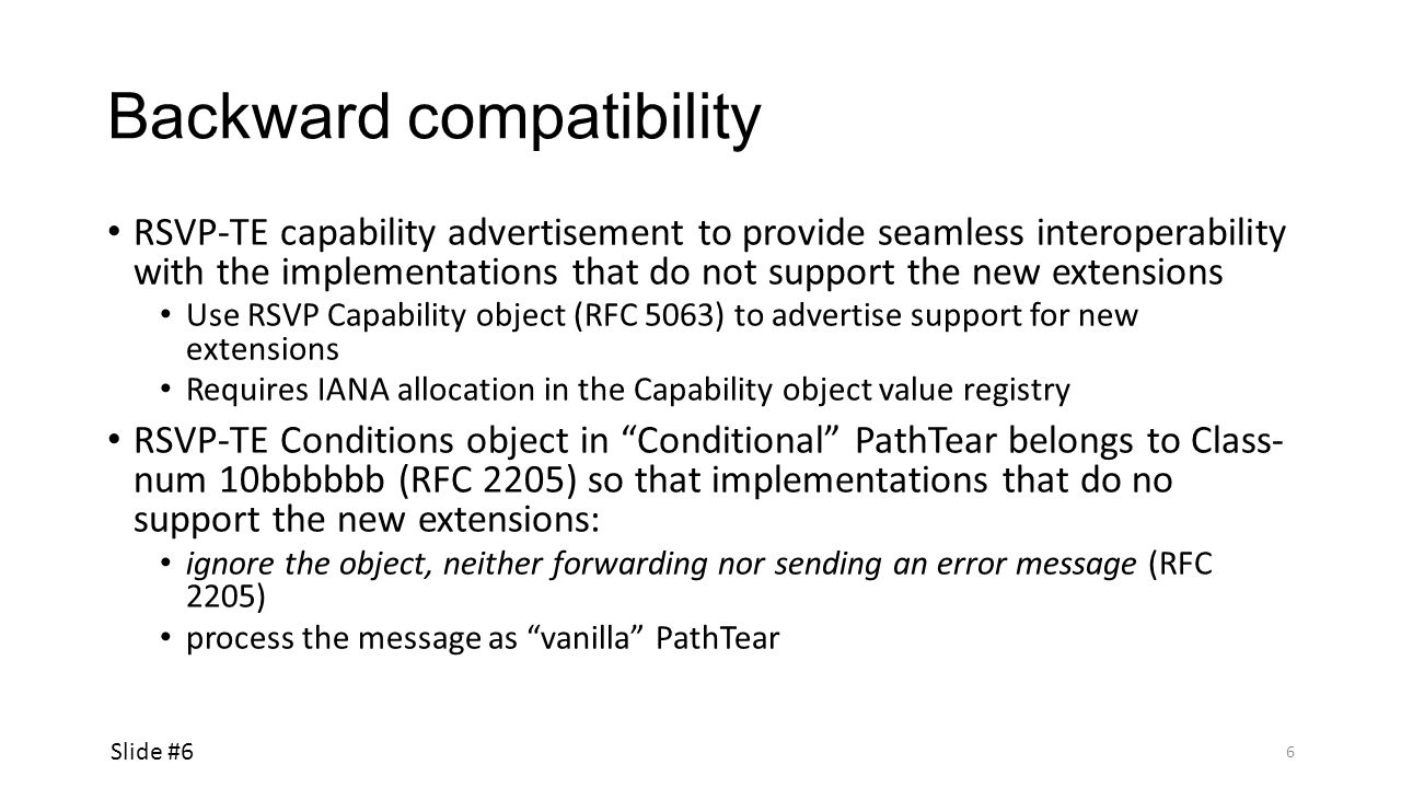 Backward compatibility RSVP-TE capability advertisement to provide seamless interoperability with the implementations that do not support the new exte