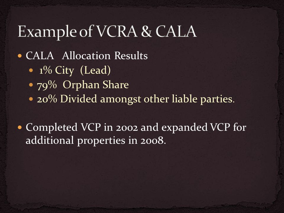 CALA Allocation Results 1% City (Lead) 79% Orphan Share 20% Divided amongst other liable parties.