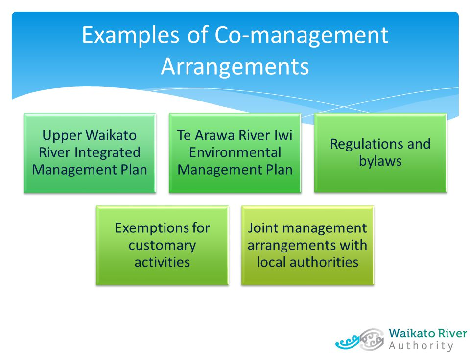 Examples of Co-management Arrangements Upper Waikato River Integrated Management Plan Te Arawa River Iwi Environmental Management Plan Regulations and bylaws Exemptions for customary activities Joint management arrangements with local authorities