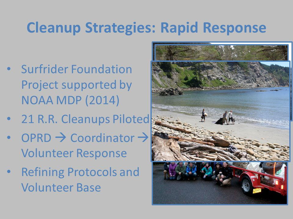Cleanup Strategies: Rapid Response Surfrider Foundation Project supported by NOAA MDP (2014) 21 R.R.