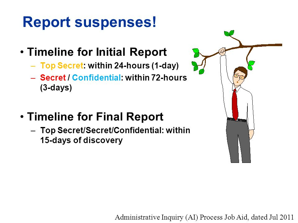 Report suspenses! Timeline for Initial Report –Top Secret: within 24-hours (1-day) –Secret / Confidential: within 72-hours (3-days) Timeline for Final