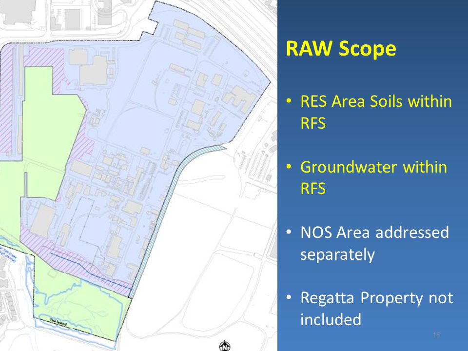 15 RAW Scope RES Area Soils within RFS Groundwater within RFS NOS Area addressed separately Regatta Property not included