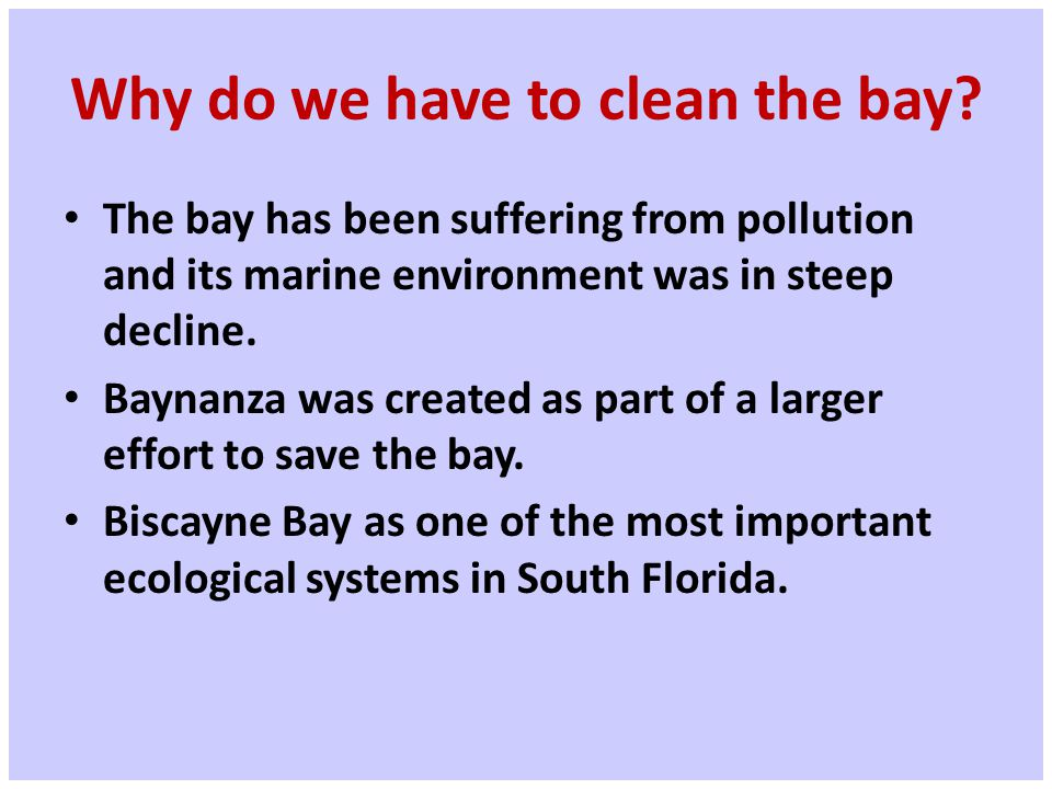 Why do we have to clean the bay.
