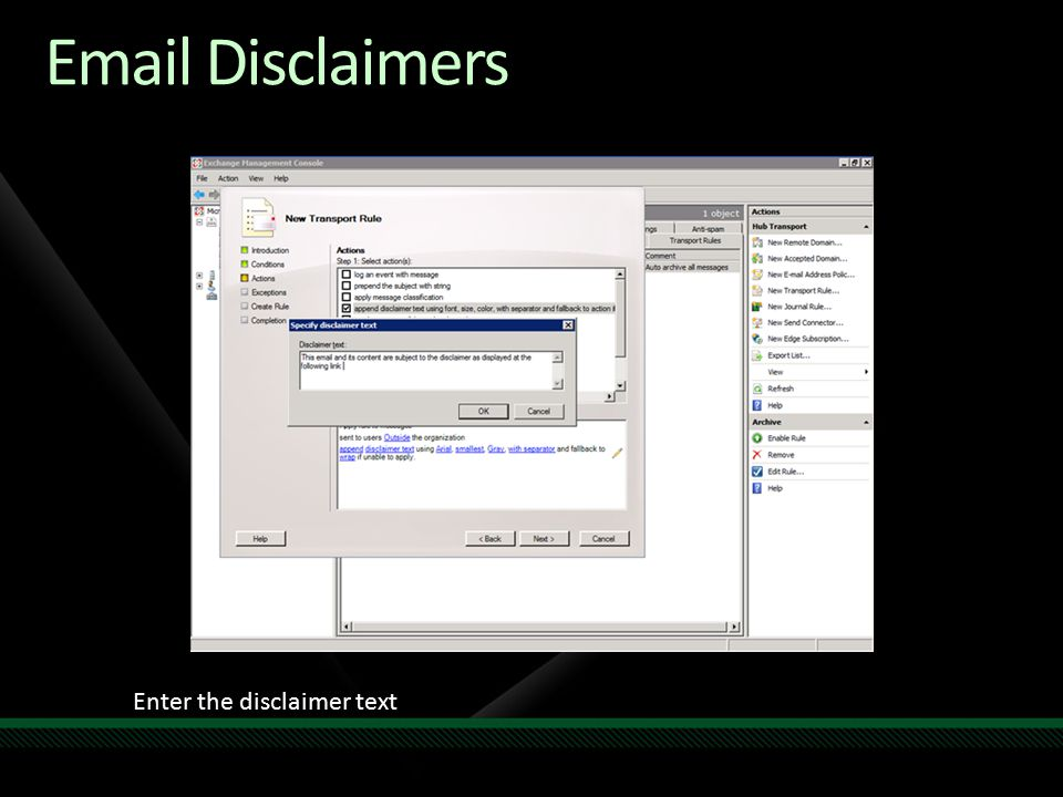 Email Disclaimers Enter the disclaimer text