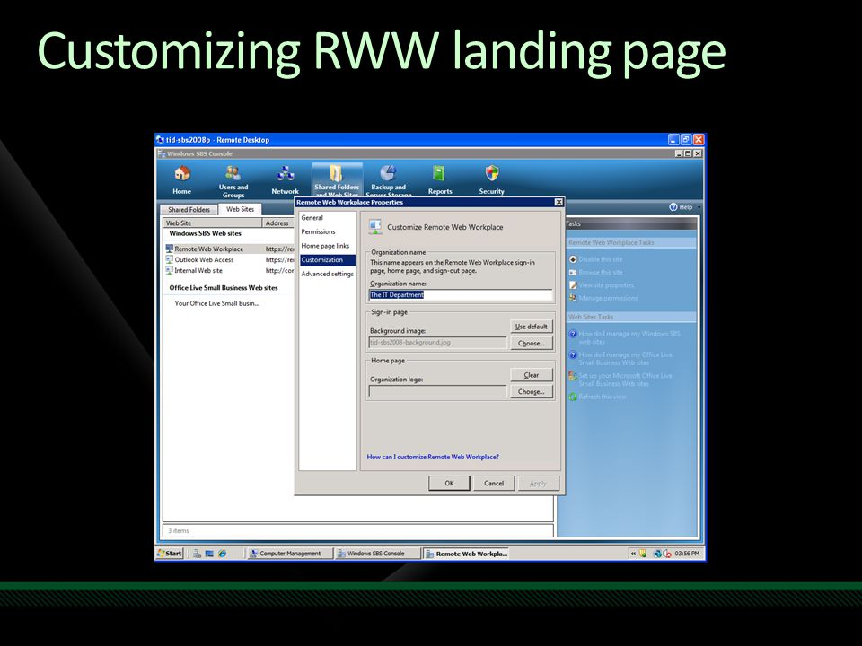 Customizing RWW landing page