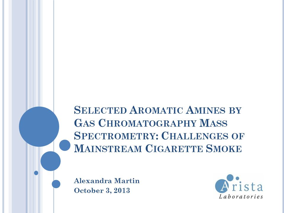 S ELECTED A ROMATIC A MINES BY G AS C HROMATOGRAPHY M ASS S PECTROMETRY : C HALLENGES OF M AINSTREAM C IGARETTE S MOKE Alexandra Martin October 3, 2013