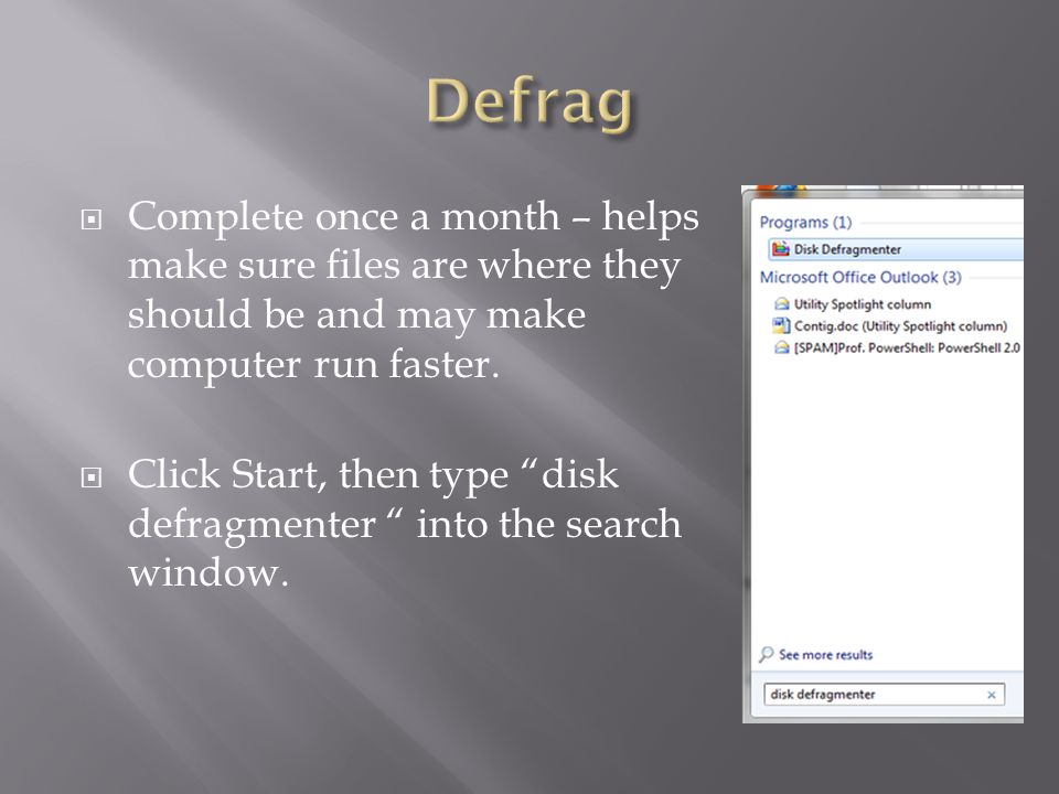  The main defragmentation screen shows all the places on your computer that can be defragmented.