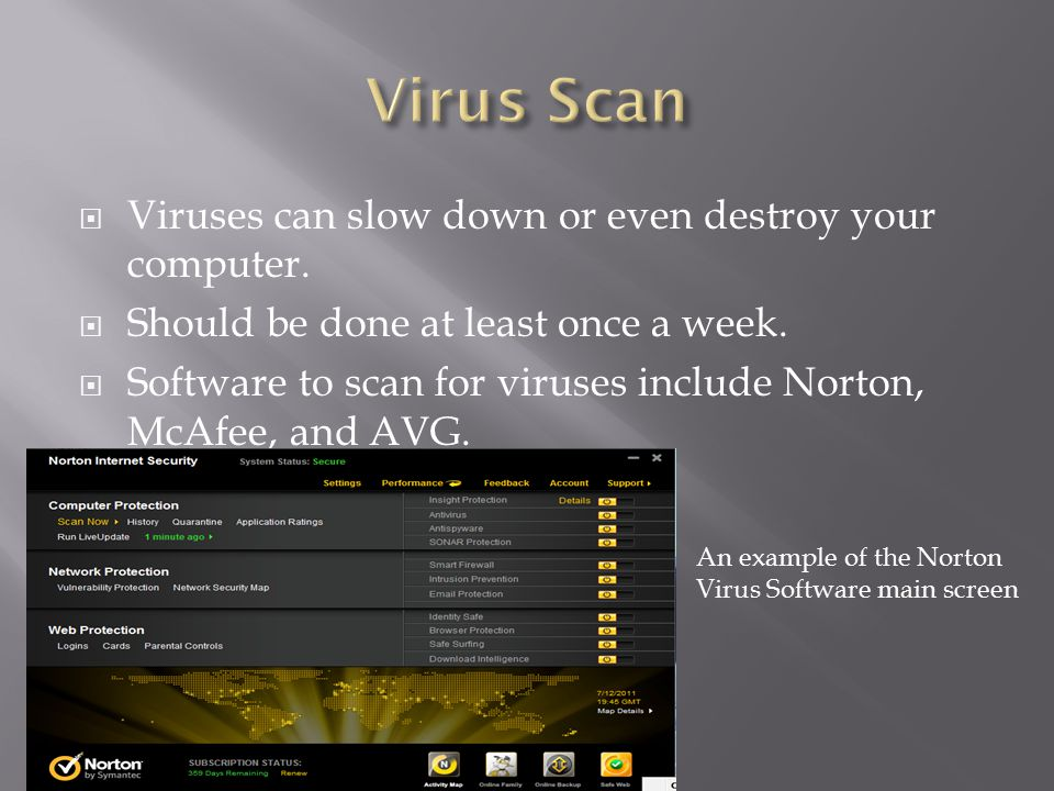  Viruses can slow down or even destroy your computer.