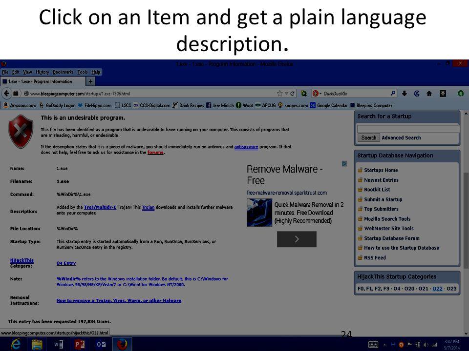 Click on an Item and get a plain language description. 24