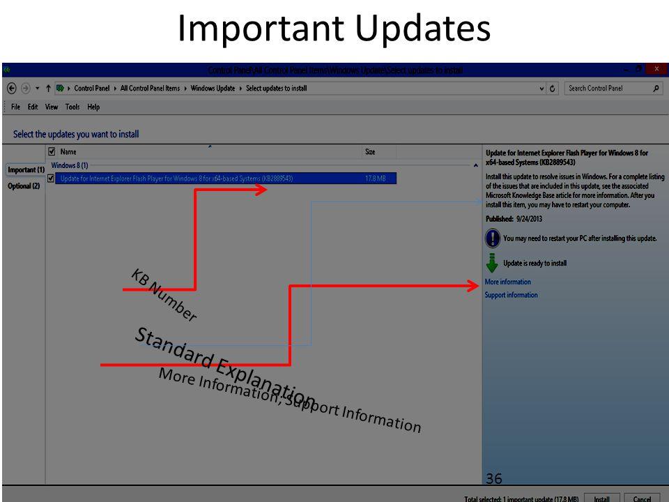 Important Updates 36 Standard Explanation KB Number More Information; Support Information