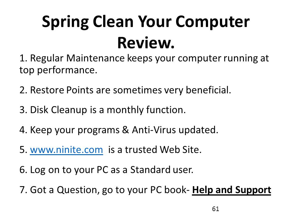 Spring Clean Your Computer Review. 1.