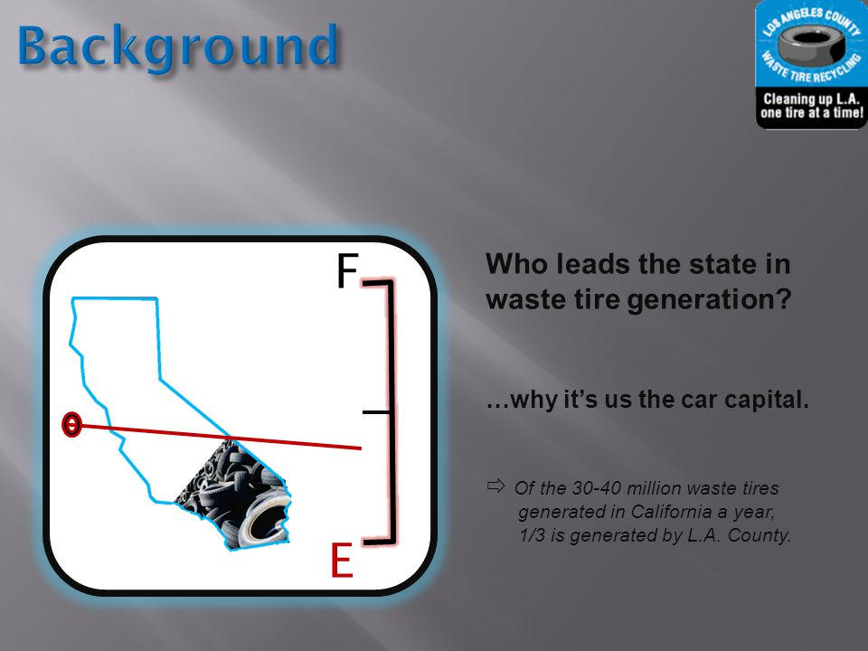 F E Who leads the state in waste tire generation. …why it's us the car capital.