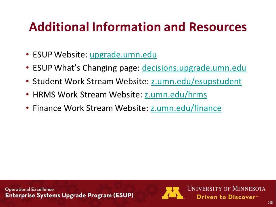 Additional Information and Resources ESUP Website: upgrade.umn.eduupgrade.umn.edu ESUP What's Changing page: decisions.upgrade.umn.edudecisions.upgrade.umn.edu Student Work Stream Website: z.umn.edu/esupstudentz.umn.edu/esupstudent HRMS Work Stream Website: z.umn.edu/hrmsz.umn.edu/hrms Finance Work Stream Website: z.umn.edu/financez.umn.edu/finance 30