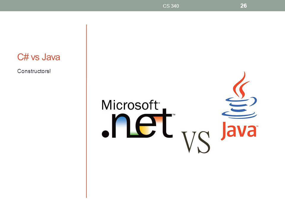 C# vs Java Constructors! CS 340 26