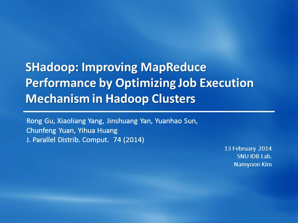 2 / 34 Outline Introduction SHadoop Related Work MapReduce Optimizations Evaluation Conclusion
