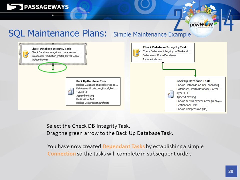 20 SQL Maintenance Plans: Simple Maintenance Example Select the Check DB Integrity Task. Drag the green arrow to the Back Up Database Task. You have n