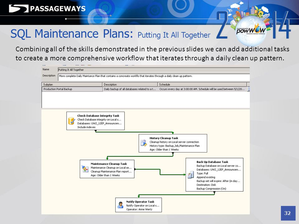 32 SQL Maintenance Plans: Putting It All Together Combining all of the skills demonstrated in the previous slides we can add additional tasks to creat