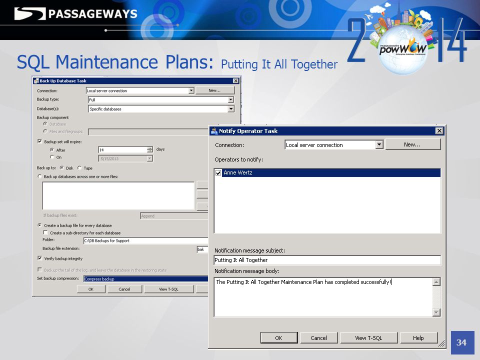 34 SQL Maintenance Plans: Putting It All Together